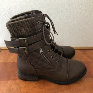 GLOBALWIN Women's Brown Combat Boots Lace Up Ankle